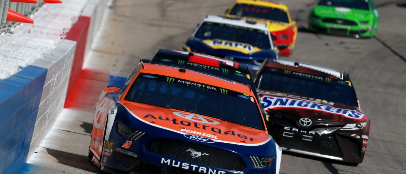 HAMPTON, GA - FEBRUARY 24:  Brad Keselowski, driver of the #2 Autotrader Ford, leads a pack of cars during the Monster Energy NASCAR Cup Series Folds of Honor QuikTrip 500 at Atlanta Motor Speedway on February 24, 2019 in Hampton, Georgia.  (Photo by Sean Gardner/Getty Images)